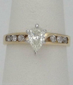14K YELLOW GOLD PEAR 3/4ct DIAMOND ENGAGEMENT RING