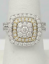 Load image into Gallery viewer, 14k TWO TONE GOLD 2.00ct ROUND DIAMOND PAVE DOUBLE HALO ENAGEMENT WEDDING SET