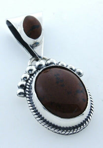925 STERLING SILVER 2 OVAL BROWN BLACK AGATE PENDANT