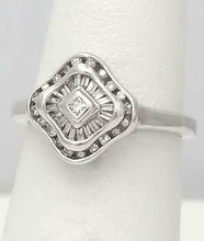 Load image into Gallery viewer, 14k wHITE GOLD 1/4ct PRINCESS CUT BAGUETTE ROUND DIAMOND CHANNEL SET HALO RING