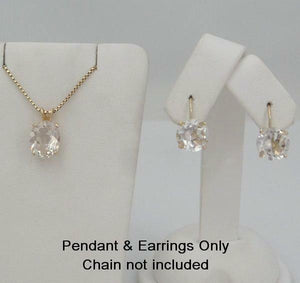 14K YELLOW GOLD CLEAR 4ct OVAL PENDANT CHARM & 2 1/2ct ROUND DANGLE EARRINGS SET