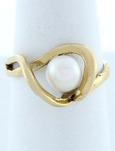 LADIES 14K GOLD WHITE PEARL SWIRL SOLITAIRE JUNE RING