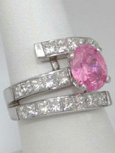Load image into Gallery viewer, LADIES 18K WHITE GOLD OVAL PINK ICE 3.00ct PRINCESS CUT DIAMOND SEMI MOUNT RING