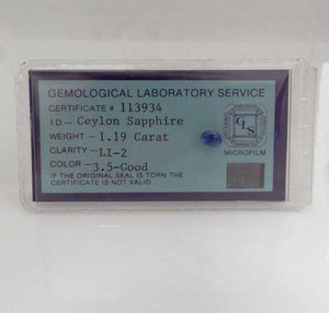 1.19ctw 6 x 5mm OVAL CEYLON SAPPHIRE BLUE GEMOLOGICAL LABORATORY CERTIFICATE