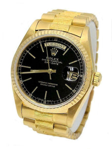 18k YELLOW GOLD ROLEX OYSTER PRESIDENT DAY DATE BARK BLACK DIAL WATCH 18078 36MM