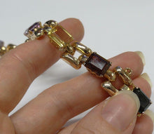 Load image into Gallery viewer, LADIES VINTAGE 18K ROSE GOLD 24.00ct SYNTH EMERALD CUT GEMSTONE BRACELET 7 1/4""
