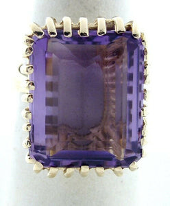 LADIES 14K GOLD 19x16mm SYNTHETIC AMETHYST HIGH RING