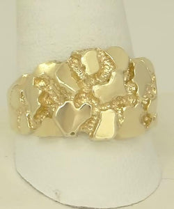 MENS 10k YELLOW GOLD HIGH POLISH WELL MADE THICK NUGGET RING 8.4g 5mm