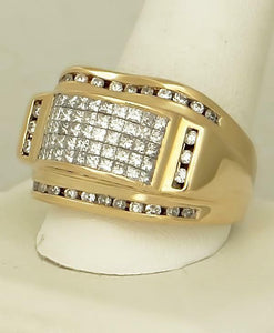MENS 14k YELLOW GOLD 2.00ct ROUND SQUARE DIAMOND DOME GALLERY BACK RING 17.7g