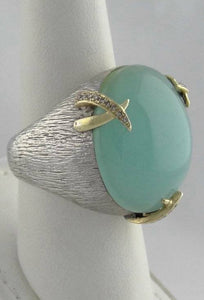 925 18K YELLOW GOLD TEXTURED CABOCHON CHRYSOPRASE DIAMOND RING