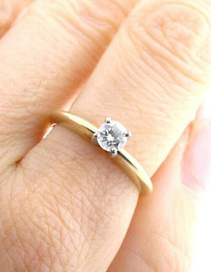 33 ct ROUND SOLITAIRE 14K GOLD PLATNUM .ENGAGEMENT RING