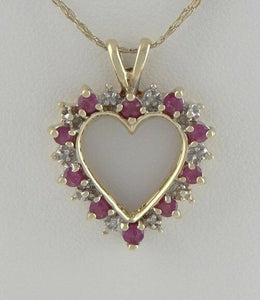 LADIES 10K YELLOW GOLD 1/4ct RUBY DIAMOND HEART JULY FINE PENDANT CHARM .94""
