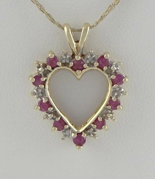 LADIES 10K YELLOW GOLD 1/4ct RUBY DIAMOND HEART JULY FINE PENDANT CHARM .94