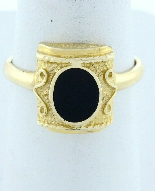 14K YELLOW GOLD BLACK SYNTHETIC ONYX CUSTOM SOLITAIRE RING
