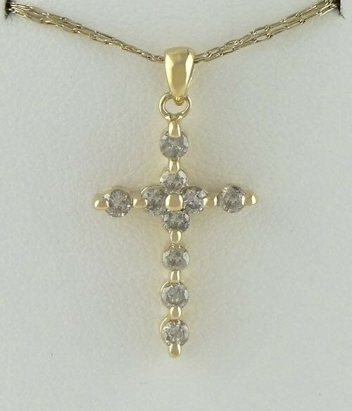 14K YELLOW GOLD 1/3ct 10 ROUND DIAMOND CROSS PENDANT CHARM 1