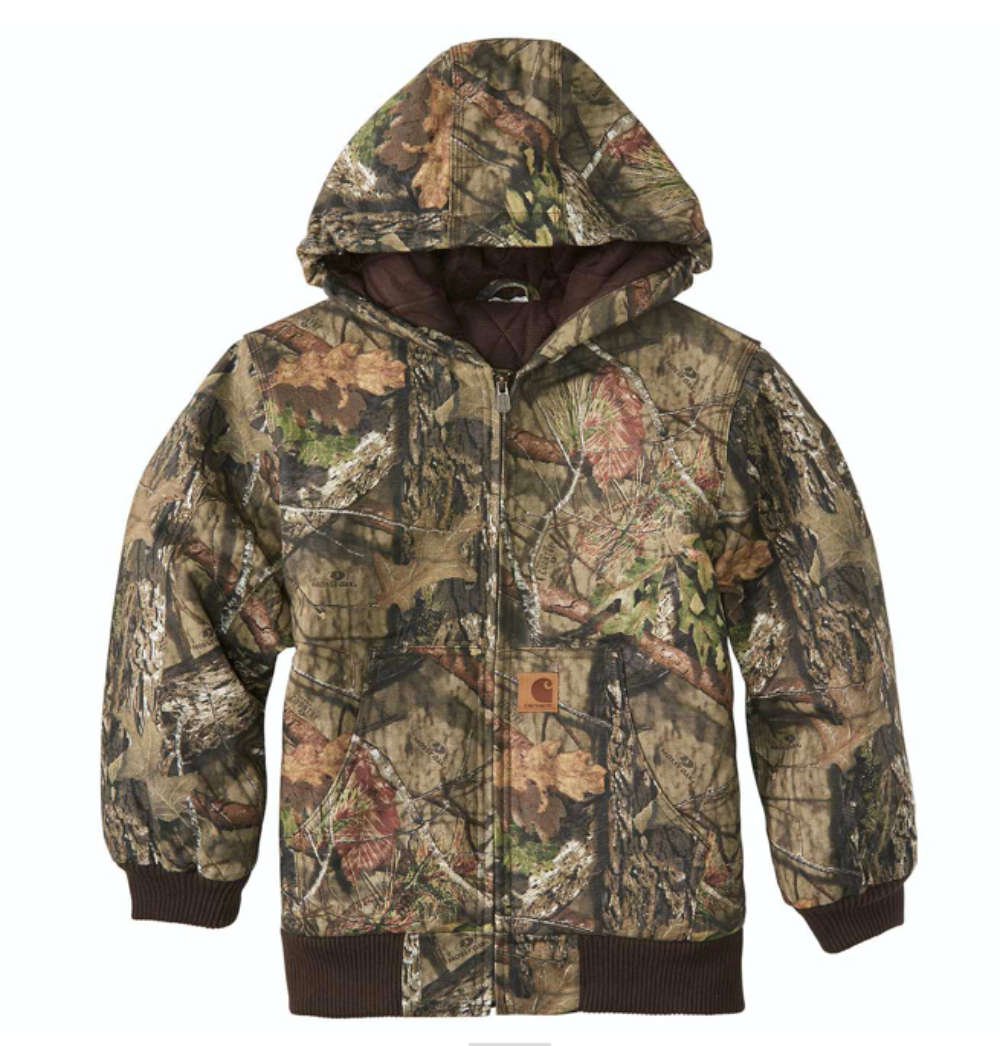 Carhartt Boy's Mossy Oak Camo Active Flannel Quilt-Lined Jacket