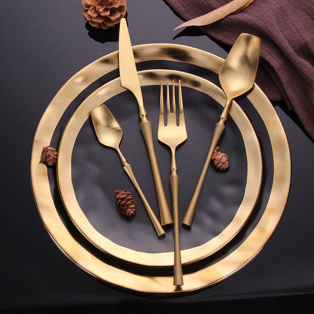 Gold Portable Matte Cutlery