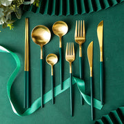 Stainless Steel Dark Green Cutlery