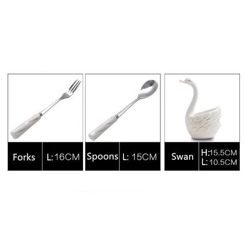 Ceramic Swan Fork Spoon Stand Holder