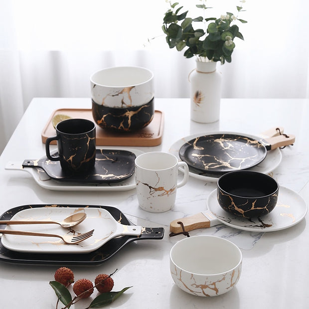 Marble Glazes Ceramic Party Tableware Set