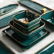 Tableware Green Ceramic Dinner Set