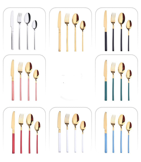 Green Gold Cutlery Set