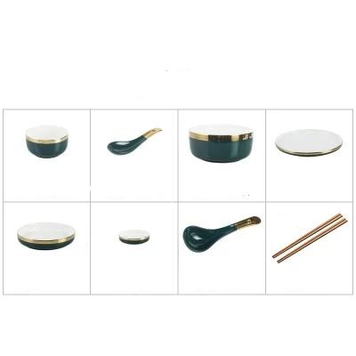 Retro Green Dinner Plate Set Ceramic Kitchen