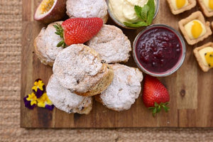 Scone (Fresh Baked) with Berry Compote & Cream with a Sweet Danish Pastry