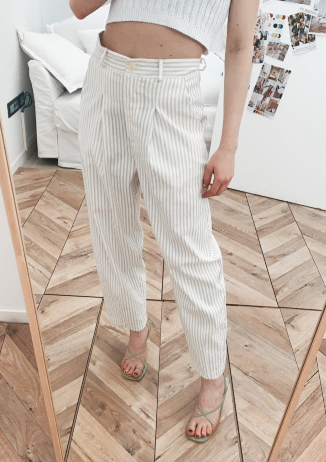 PANTALONE A RIGHE PINCES