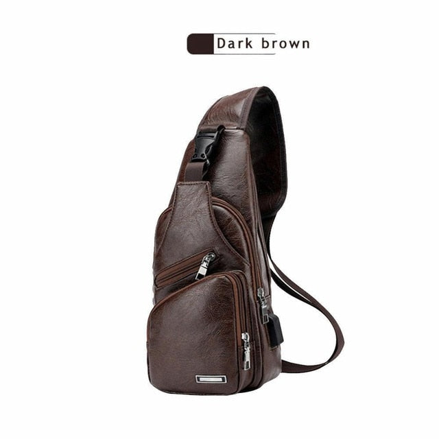 Mens Leather Crossbody Bag Single Shoulder Bag USB Sling Sports Casual Chest Bag phone bag earphone hole design