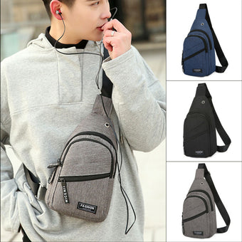 Men's Shoulder Bag Sling Chest Pack Canvas USB Charging Sports Crossbody Handbags For Men 2020 Chest Bags Belt Waist Packs