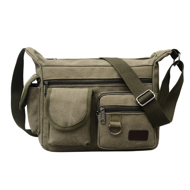 Canvas Shoulder Bags for Young Solid Colors Messenger Bags Strong Fabric Bags Vintage Style Crossbody Bags 2020 Multiple Pockets