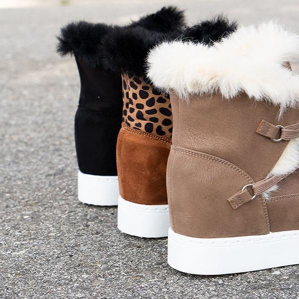 Mavishoes Winter Fuzzy Lace-Up Wedge Boots