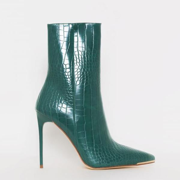 Mavishoes Stiletto Zipper Snake Print Pointed-Toe Boots