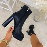 Mavishoes Platform Zipper Fashion High Heel Boots