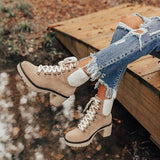 Mavishoes Platform Lightweight Ankle Lace-Up Boots