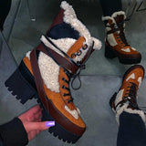 Mavishoes Stitching Warm Thick-Soled Fashion Autumn Winter Boots