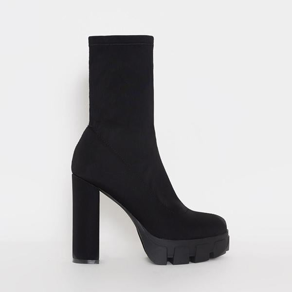 Mavishoes Black Platform High Heel Ankle Boots