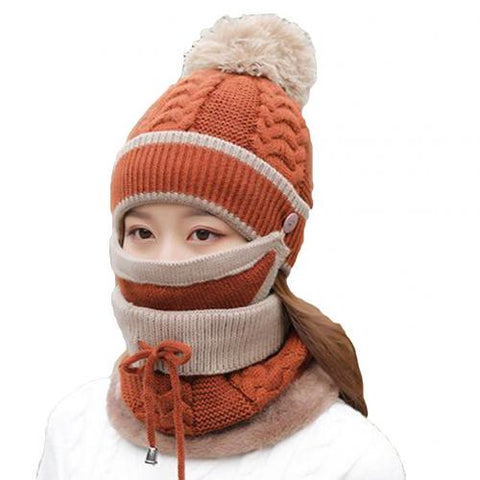 3Pcs Winter Thicken Warm Knitted Hat Cap Mask Neck Scarf