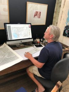 Sean Rodwell working on The Melbourne Map