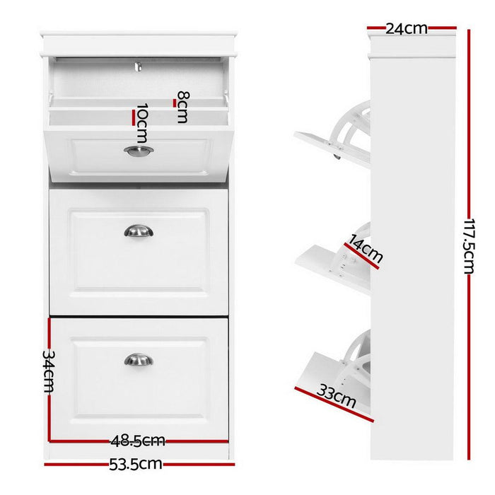 Shoe Cabinet Shoes Storage Rack White Organiser Shelf Cupboard 18 Pairs Drawer