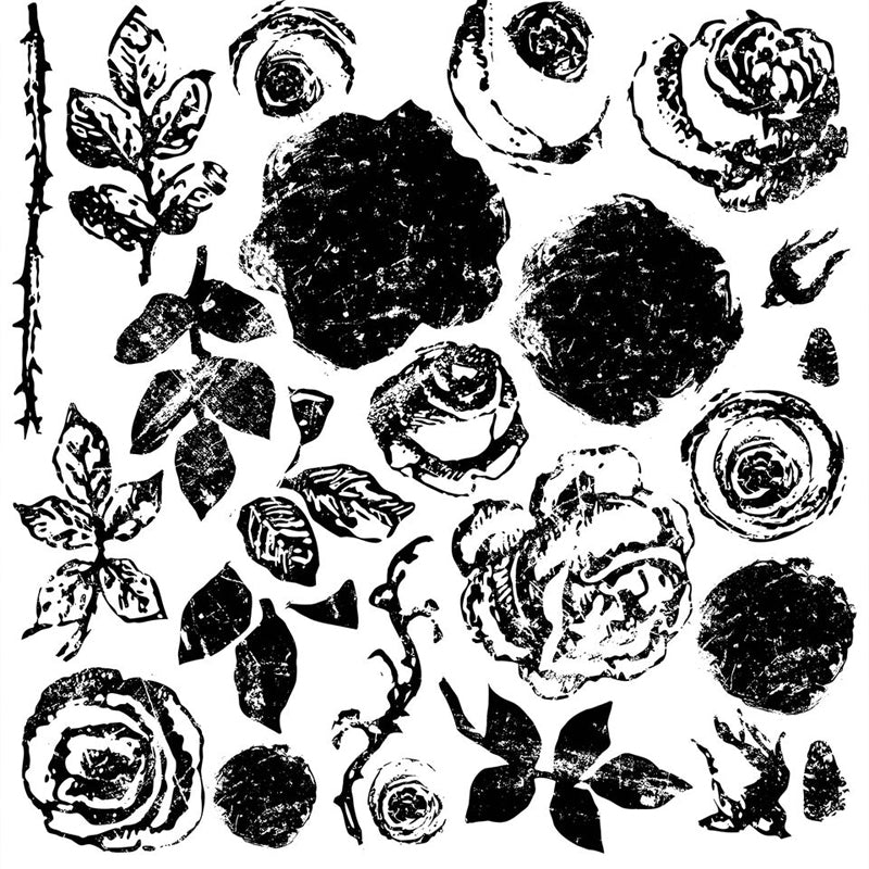 'PAINTERLY ROSES' DECOR STAMP (12″X12″) *RETIRED*