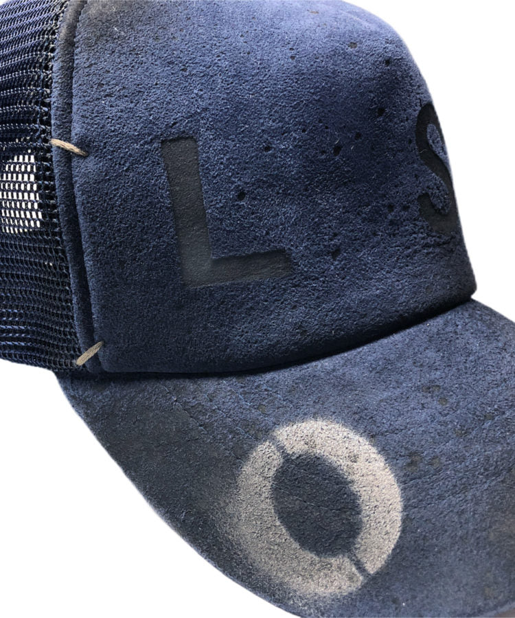 "Load image into Gallery viewer, STRUM Designer's Custom Made Goat Suede Leather Mesh Cap ""LOST"" Ver.3"