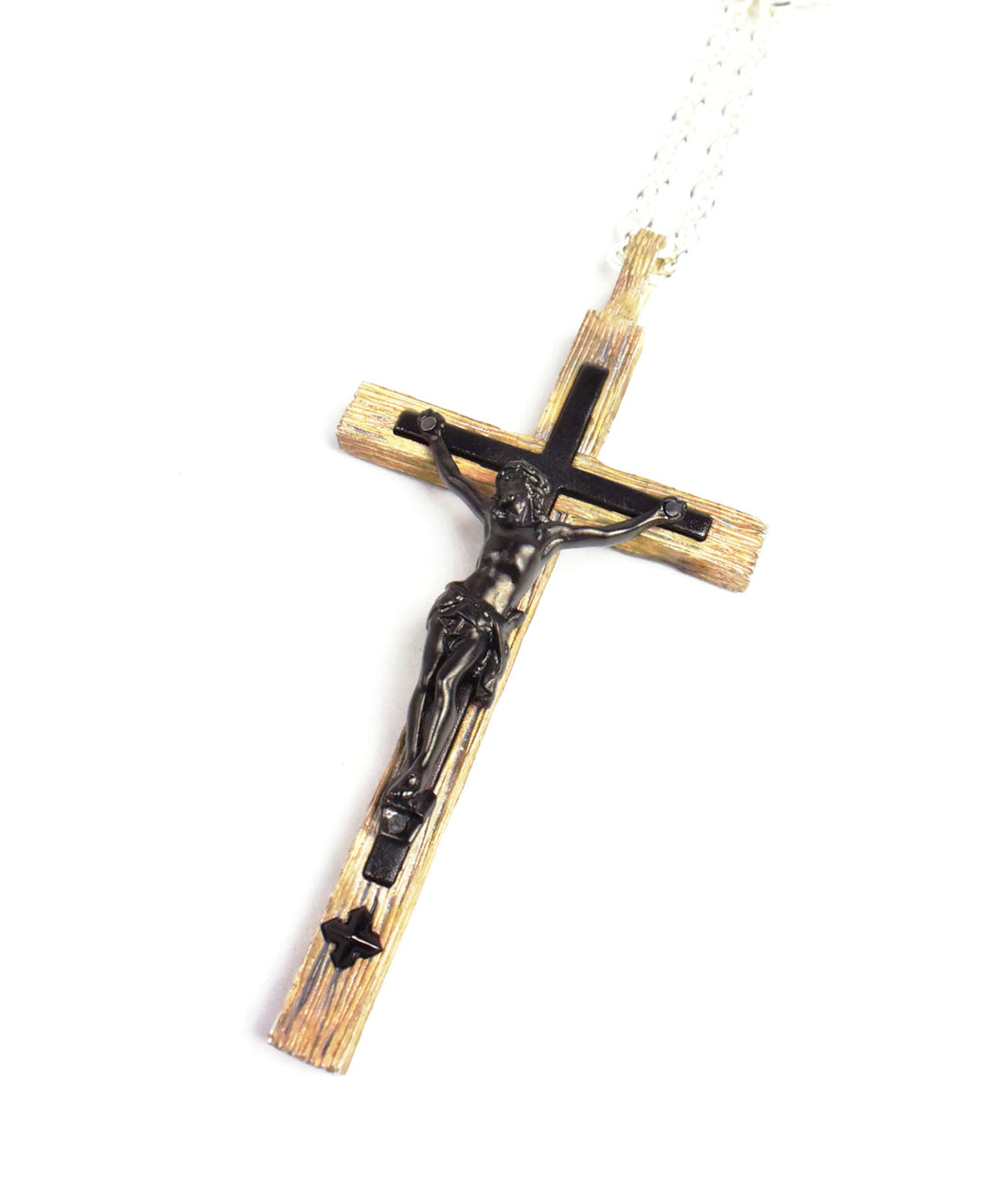 Cross Necklace (driftwood processing / sandblasting / black rhodium coating)