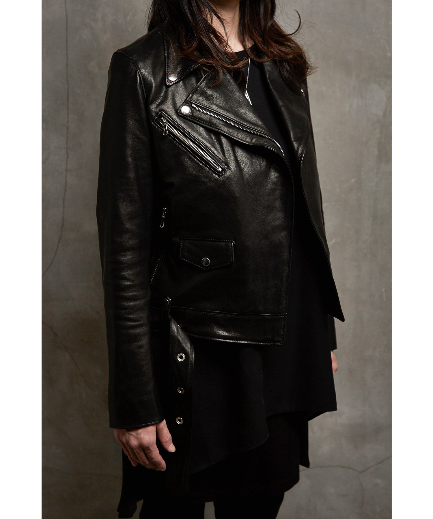 Load image into Gallery viewer, Lucinda Spain Entrefino Lamb Double Riders Jacket / Black