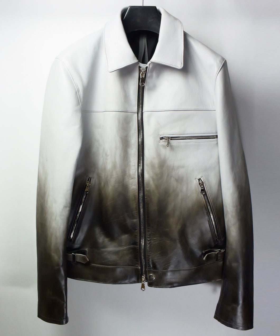 [BURN OUT] Domestic Vegetable Full Tanned Calf Skin  Titanium Dyed Single Riders Jacket