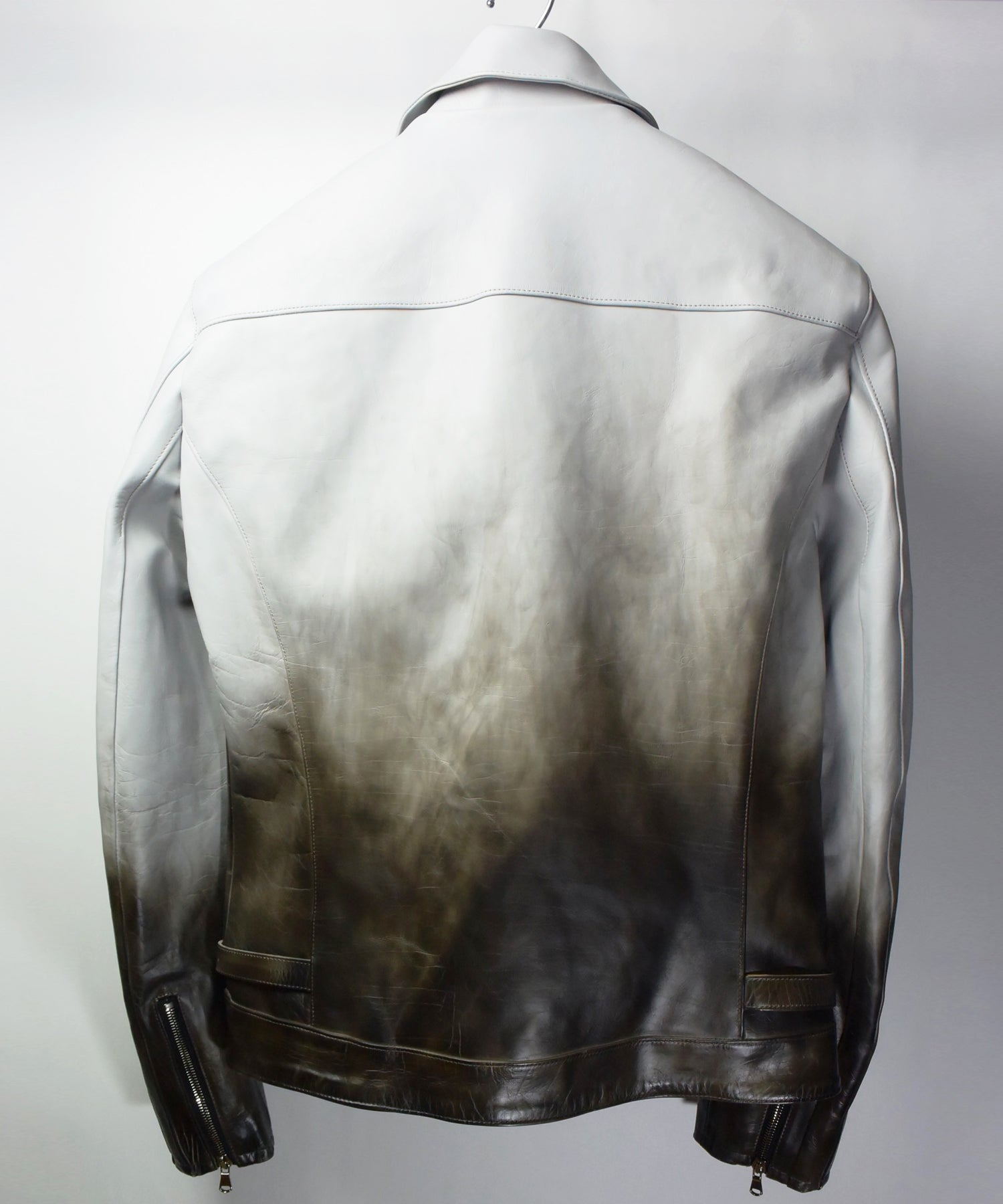 将图片加载到图库查看器,[BURN OUT] Domestic Vegetable Full Tanned Calf Skin  Titanium Dyed Single Riders Jacket