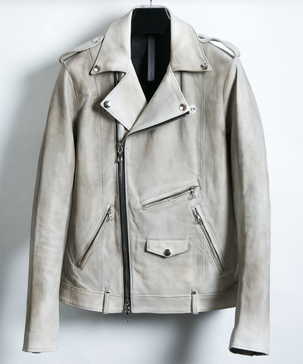 [BURN UP] Domestic White Tanned Calf Skin Double Riders Jacket