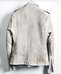 Load image into Gallery viewer, [BURN UP] Domestic White Tanned Calf Skin Double Riders Jacket