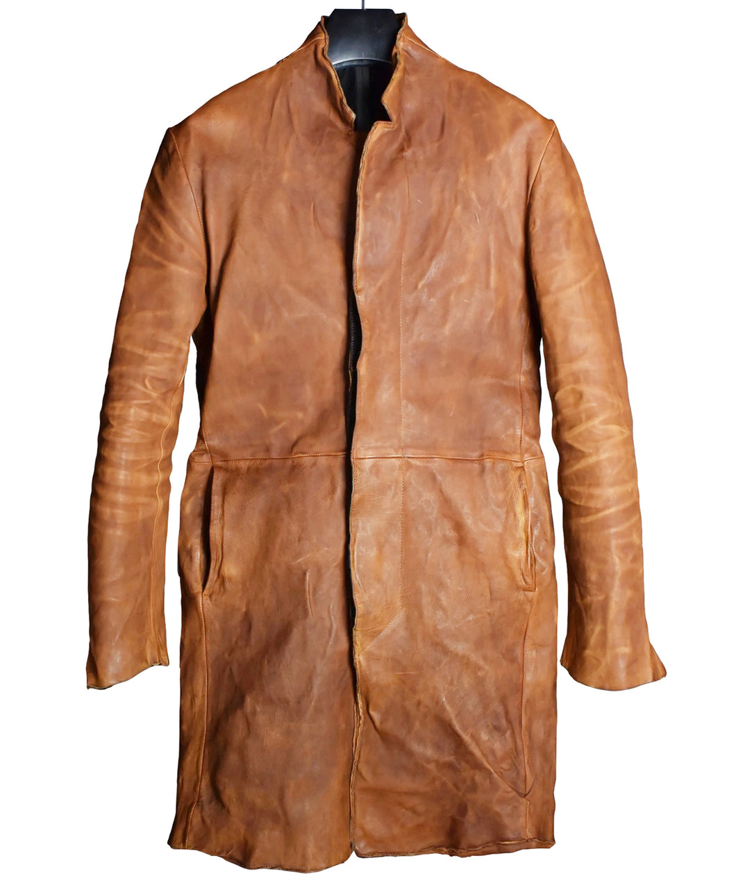 Domestic Vegetable Full Tanned Calf Skin Garment Dyed Long Jacket